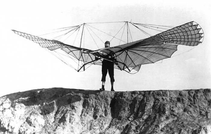 Otto Lilienthal, bir uçuş denemesi yaparken