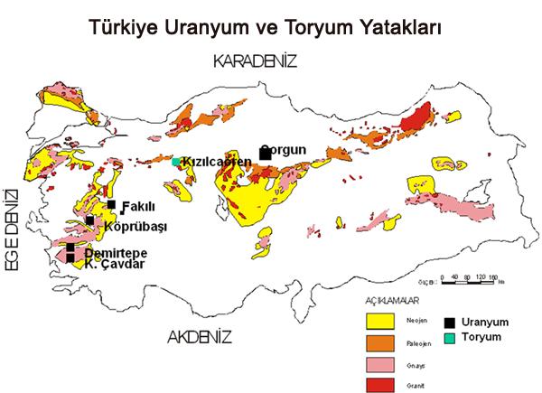 Türkiye'deki Uranyum ve Toryum Yatakları